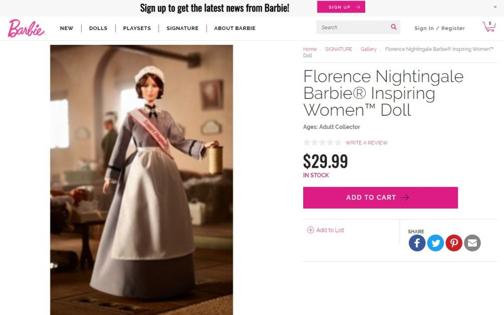 Uno de los puntos de venta de la muñeca Florence Nightingale