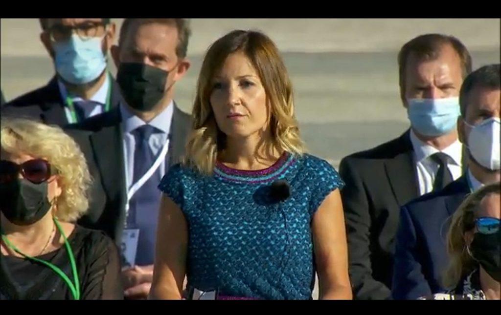 La enfermera Aroa López en el acto de homenaje de las víctimas del Covid-19