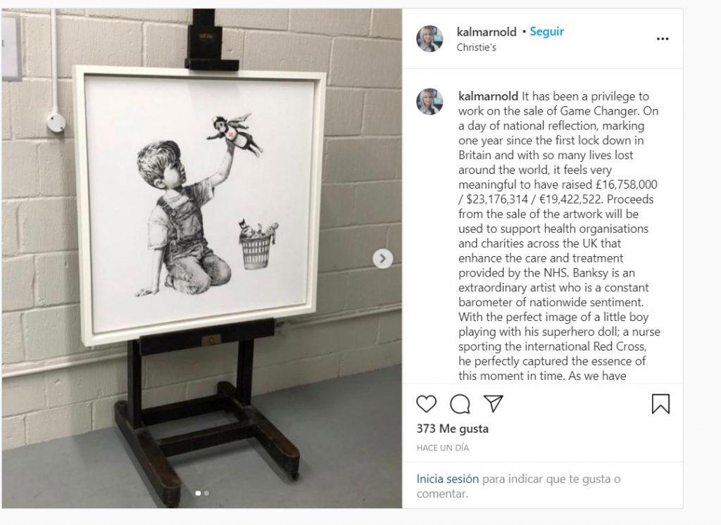 La obra de Banksy en homenaje a los profesionales sanitarios ha sido subastada por 19 millones