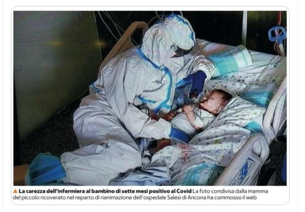 La imagen de la enfermera junto al niño  Captura de Twitter de @viciocort