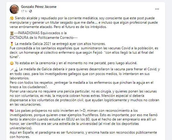 Captura de las palabras del alcalde de Orense |Foto: Consejo General de Enfermería