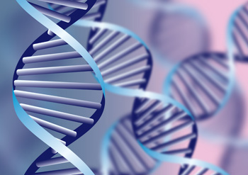 DNA helix, biochemical abstract background with defocused strand