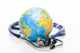 Globe with stethoscope